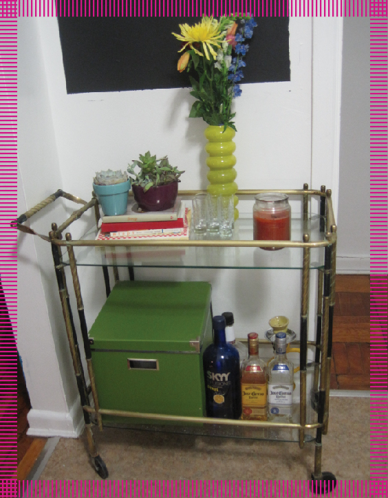 bar cart, makeover