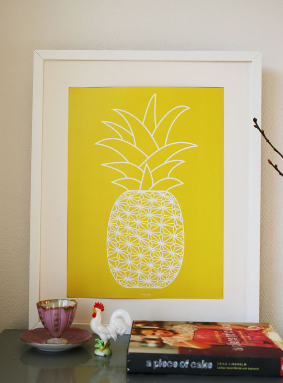 pineapple, print, poster, art, etsy, design