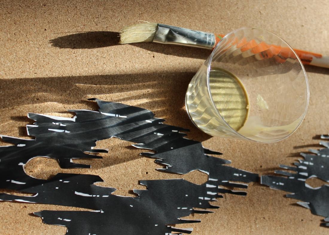 diy ikat stenciled cork board