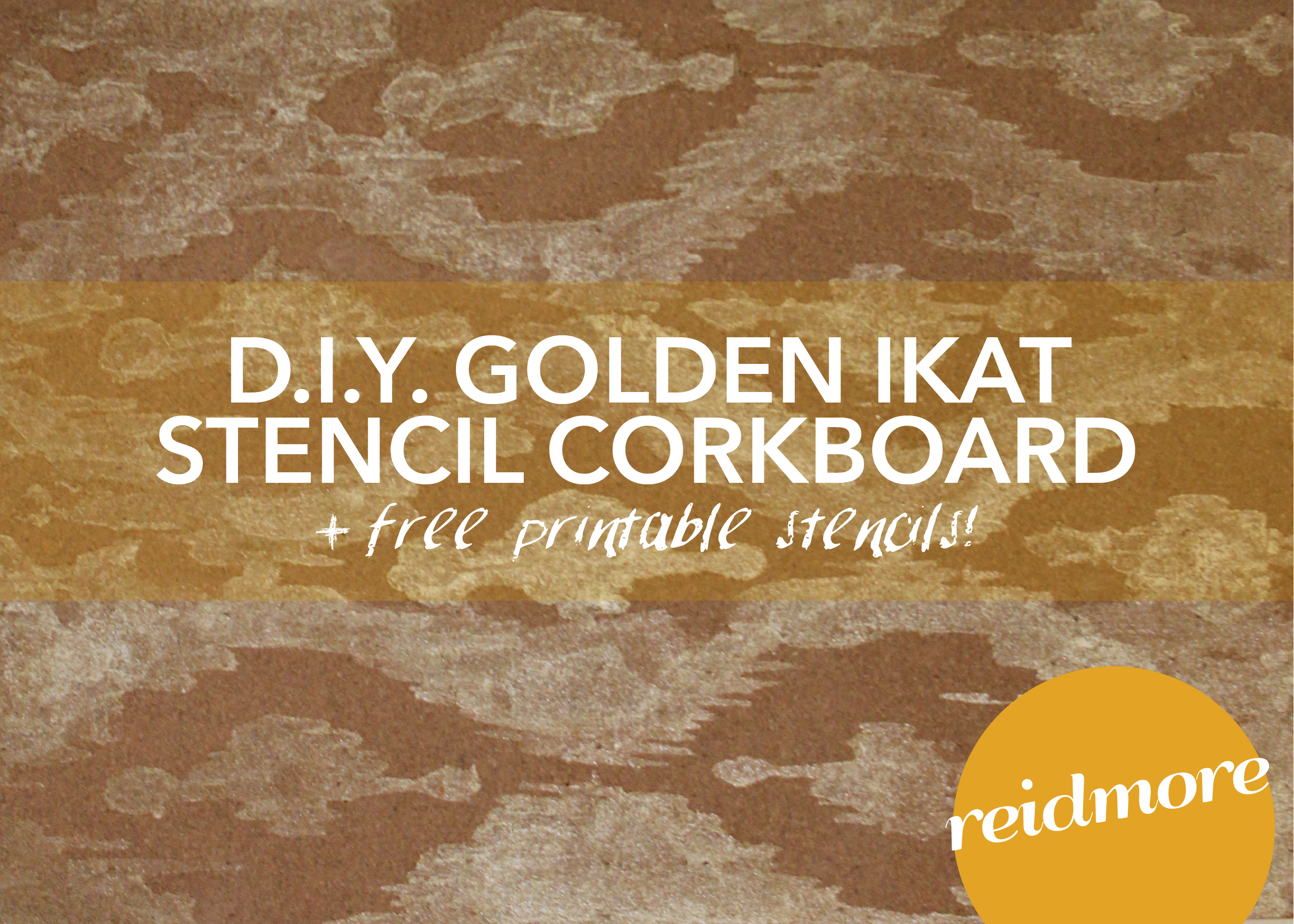diy ikat stenciled cork board