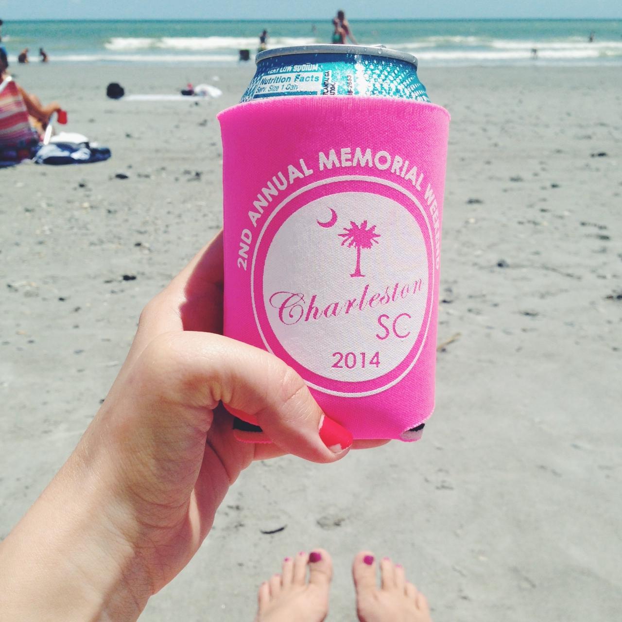 custom coozies beach trip