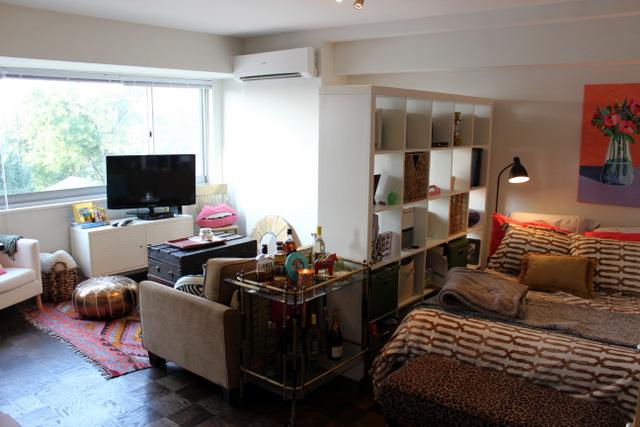 ikea book shelf room divider studio apartment