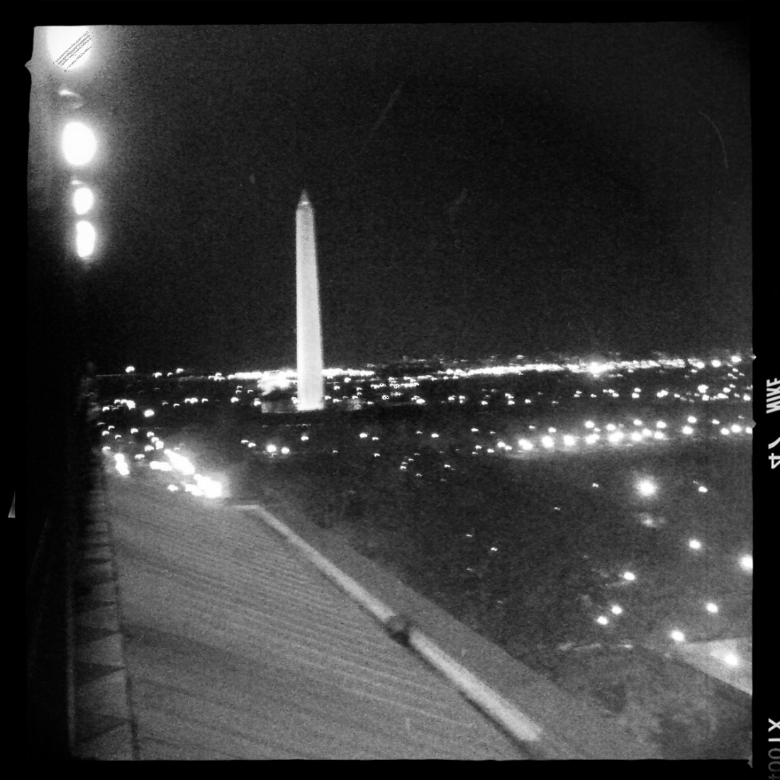 view of washington monument at night